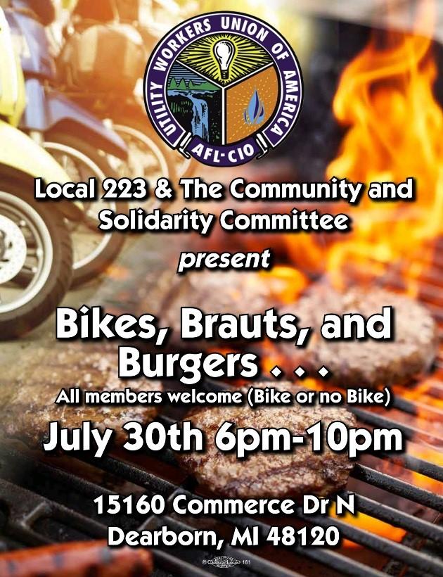 July 30 – Bikes, Brauts & Burgers