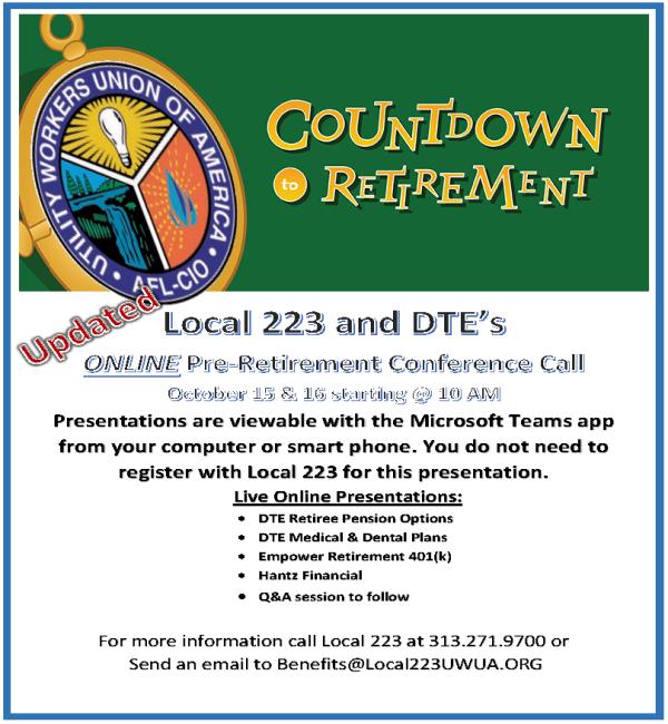 October 15 and 16 – Online Retirement Seminars